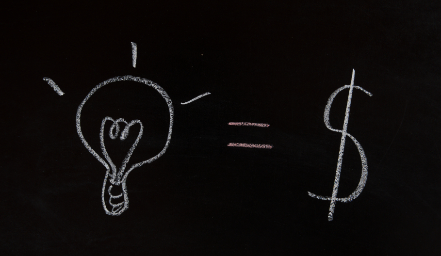 lightbulb = $, idea, innovation, solution, black and white