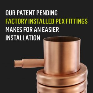Drain water heat recovery with factory installed crimp PEX fittings