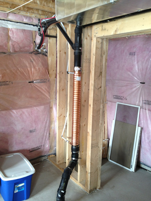 ThermoDrain, Drain Water Heat Recovery, Installed, Passive Heat Exchanger, installed in main stack