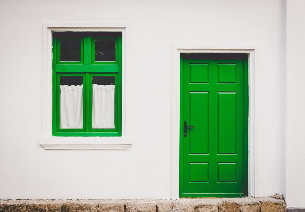 Green Window and Door white house